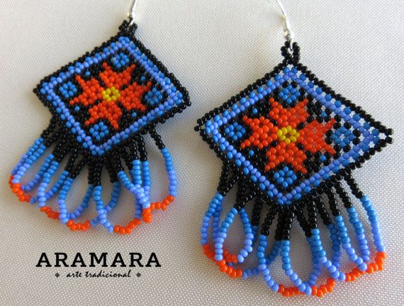 Mexican Huichol Beaded Tribal Necklace and Earrings Set