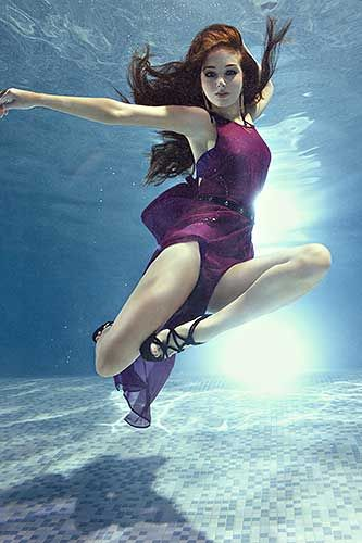 Tulisa underwater for Fabulous magazine Photography by Zena Holloway