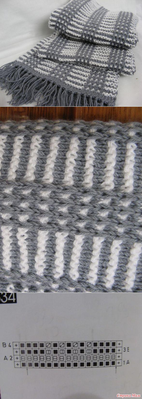 крученый шарф спицами схема