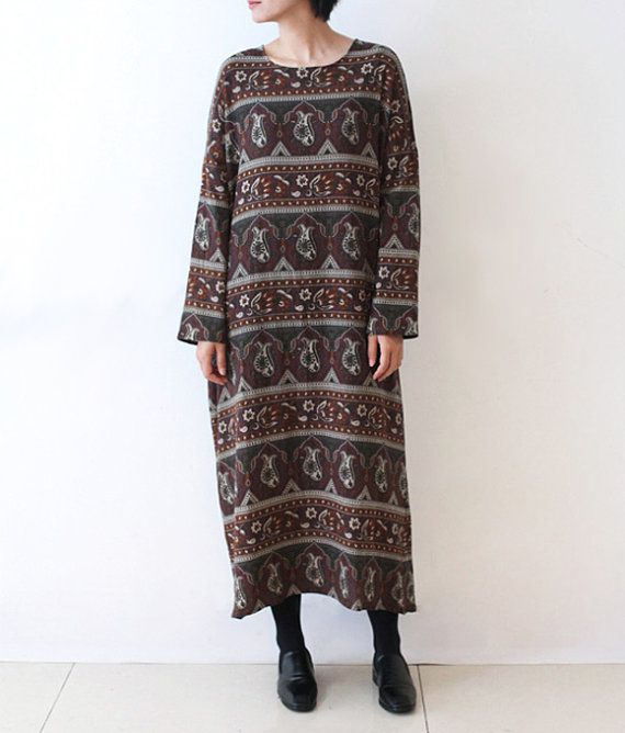Womens Long DressLong Sleeve DressLong Tunic Bohemia by lanbao