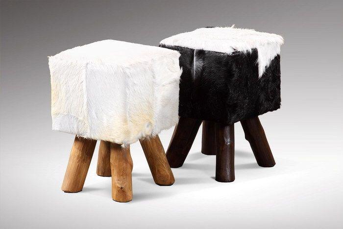Stołek kwadratowy 30x30x45H kozia skóra i teak