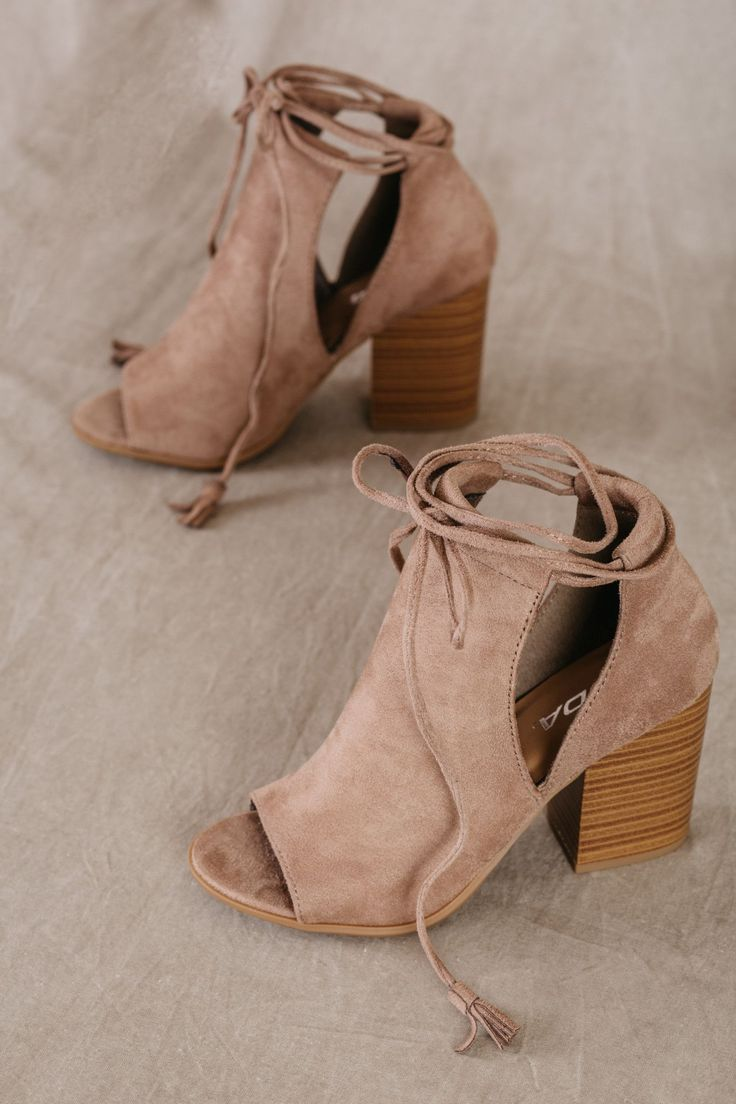 Open-toe booties, taupe booties, lace-up heels, sandals, heels - For Elyse