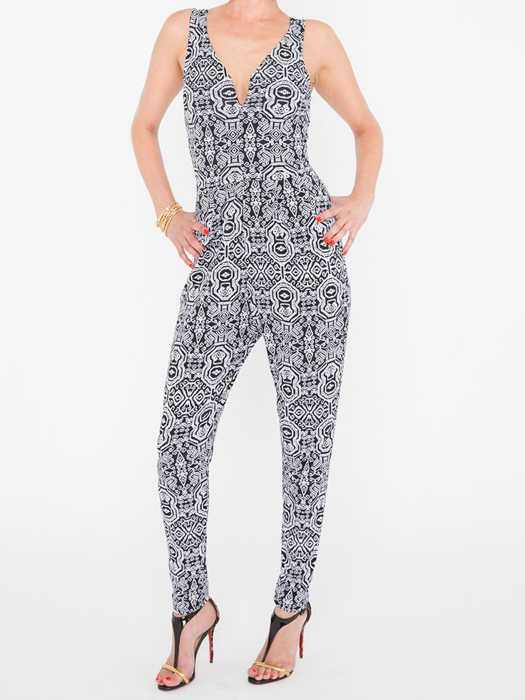 Printed Black & White Pant Romper