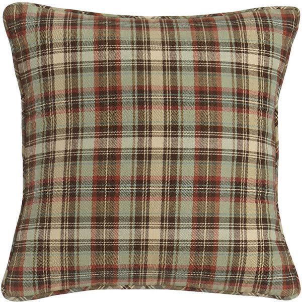 Traditions Linens Plaid Pillow ($84) ❤ liked on Polyvore featuring home, home decor, throw pillows, pillows, brown plaid, plaid home decor, plaid throw pillows, brown accent pillows and brown throw pillows