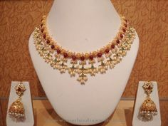 Light Weight Pearl Choker Necklace Designs, Light Weight Gold Pearl Necklace Designs