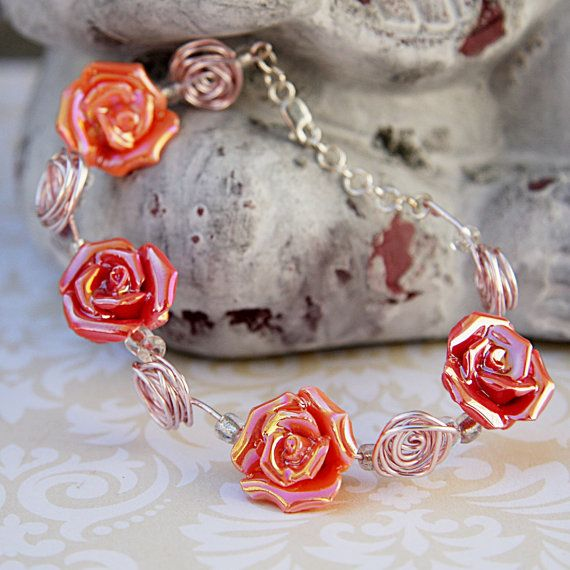 Pink and Peach Rose Bead Bracelet, Pink Wire Wrap Bracelet, Rose Bead Bracelet, Ceramic Rose Bracelet, Flower Girl Jewelry