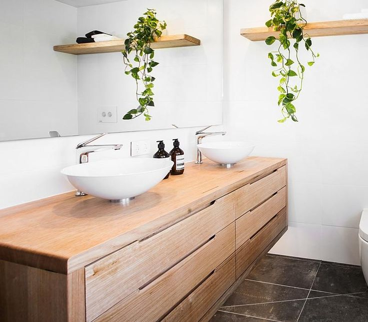 The judges loved our custom floating timber vanity unit in Josh and Charlotte's master ensuite. It's made from remilled W.A Marri, with mitred joins all round, and finished in a matte waterproof marine varnish