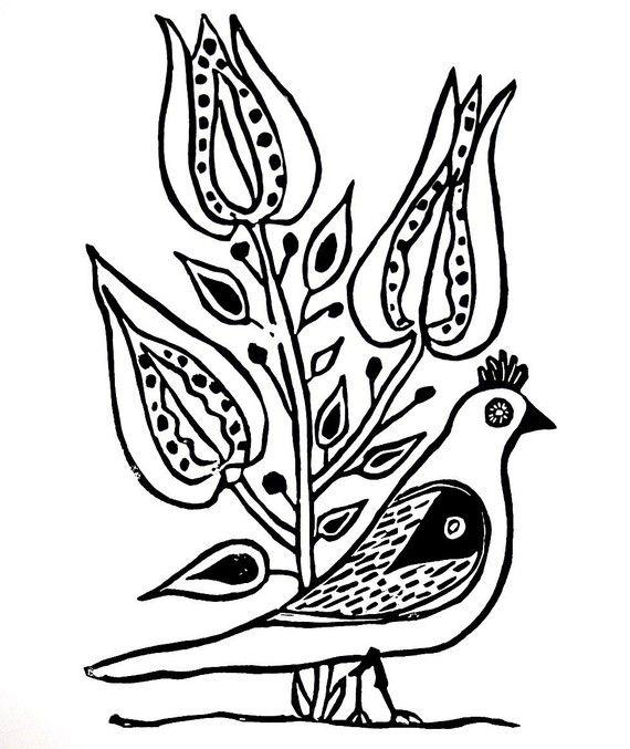 """uccello con blocco linoleum fiori stampa - 9 """"x 12"""" arte parete"""