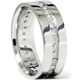 8MM 1.50Ct Men Diamond Wedding Ring Comfort Fit Polished Shiny Wedding Ring Band, via  mens wedding bands