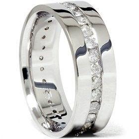 8MM 1.50Ct Men Diamond Wedding Ring Comfort Fit Polished Shiny Wedding Ring Band, via  mens wedding bands