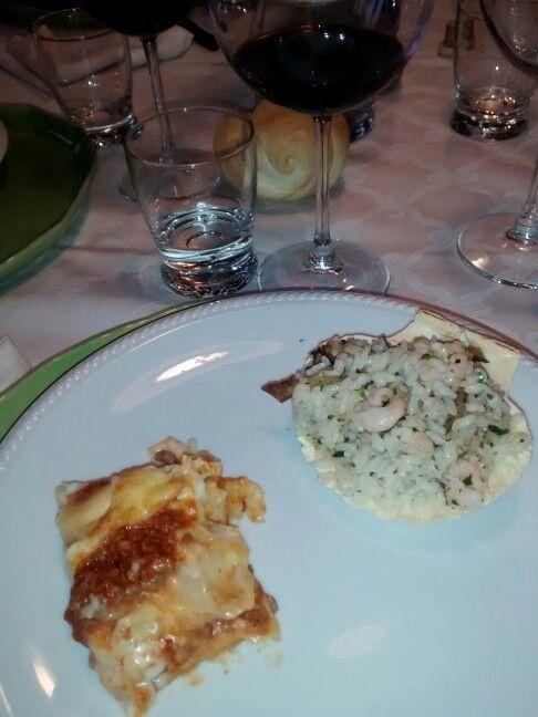 Bis di primi: classico pasticcio al ragù e risotto porcini e gamberetti!
