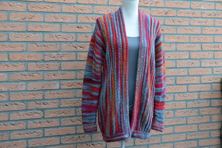 Gratis Nederlands haakpatroon om mooi kleurrijk vest te haken van Lossen en Vasten.