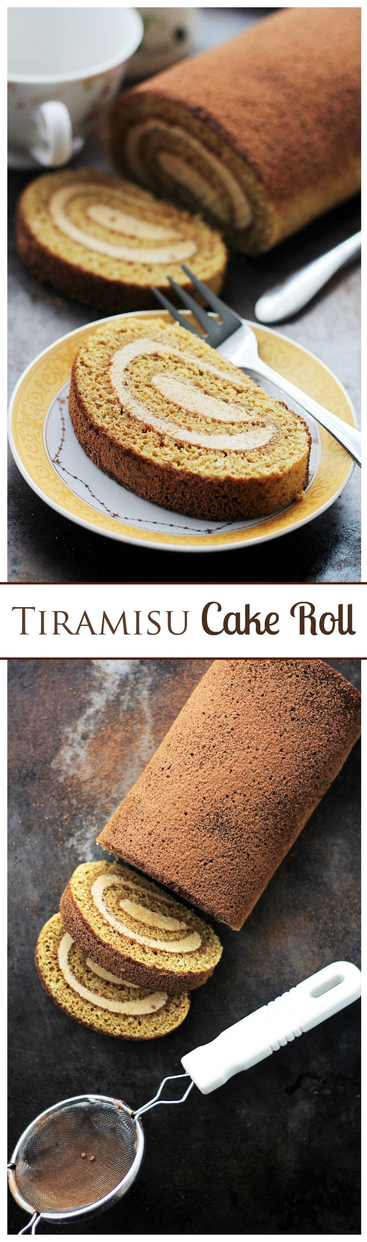 Tiramisu Cake Roll - Espresso flavored cake sponge brushed with a coffee-liqueur syrup and filled with a Mascarpone Cheese Whipped Cream.