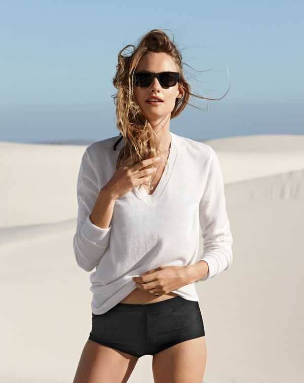 J.Crew women's Collection featherweight cashmere classic V-neck sweater, bikini boy short and Irving sunglasses.