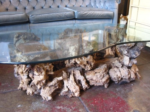 Attractive Custom Made Twisted Tree Trunk Table With Glass Top