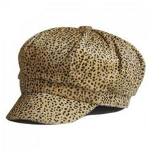 Chic Leopard Pattern Faux Fur Design Newsboy Cap For Women U213-108165501