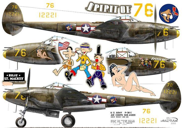 P-38E-LO; s/n 41-2221, 'Spirit of 76', coded '76', flown by 2nd Lt. John S. Mackey of 54th FS / 343rd FG, Attu, Aleutian Islands, winter of 1943/1944