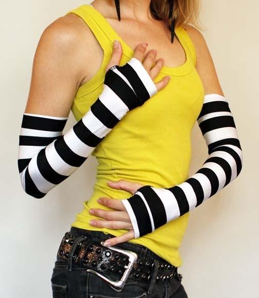Extra Long Black and White Jailbird Striped Gloves
