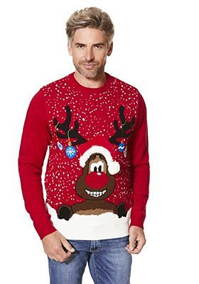 F&F Reindeer Face Light-Up Christmas Jumper