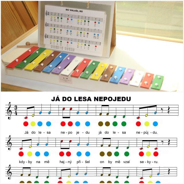 Barevné noty pro xylofon (zvonkohru)