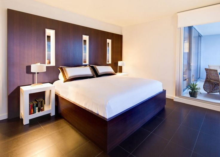 Interior Modern Apartment Design: Story About Us Modern Apartment Bedroom Idea With Wooden Frame Double Size Bed And White Bedside Table Also Black Ceramic Floor Plus Wooden Partition