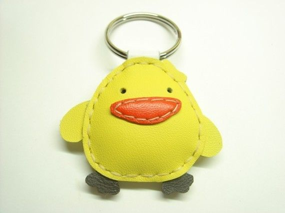 Wendy the Chick Leather Keyring  Yellow  by leatherprince on Etsy, $17.90