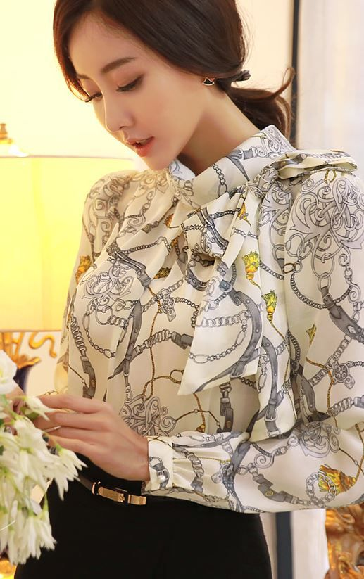 StyleOnme_Ribbon Brooch Set Printing Blouse #blouse #brooch #ribbon #printed #louisangel
