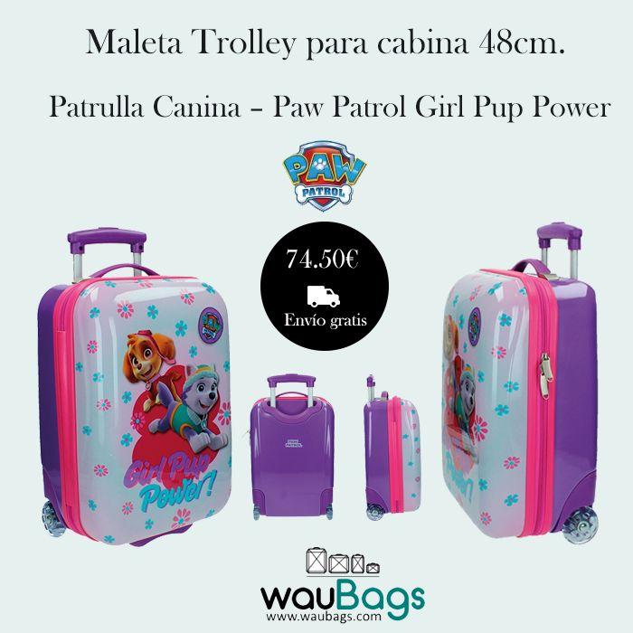 """Maleta Trolley para cabina 48cm. Patrulla Canina – Paw Patrol Girl Pup Power.  Con la Maleta Trolley Patrulla Canina """"Paw Patrol Girl Pup Power"""" no tendrás que facturar, ya que sus medidas son las homologadas para poder llevarla en la cabina del avión.  #PawPatrol #Maleta Cabina # Waubags"""