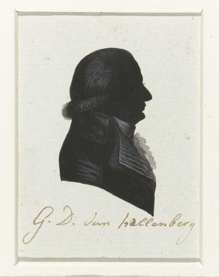 anoniem | G.D. van Hellenberg, possibly Hausdorff, 1796 | Silhouet van borstbeeld in profiel naar rechts. Kort aan de onderzijde gekruld haar en jabot. Opschrift; o.: G. D. van Hellenberg.