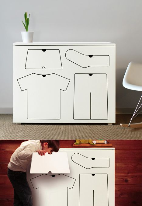 The drawers of this children's dresser designed by Seattle product designer Peter Bristol are shaped to match their contents to help train kids.
