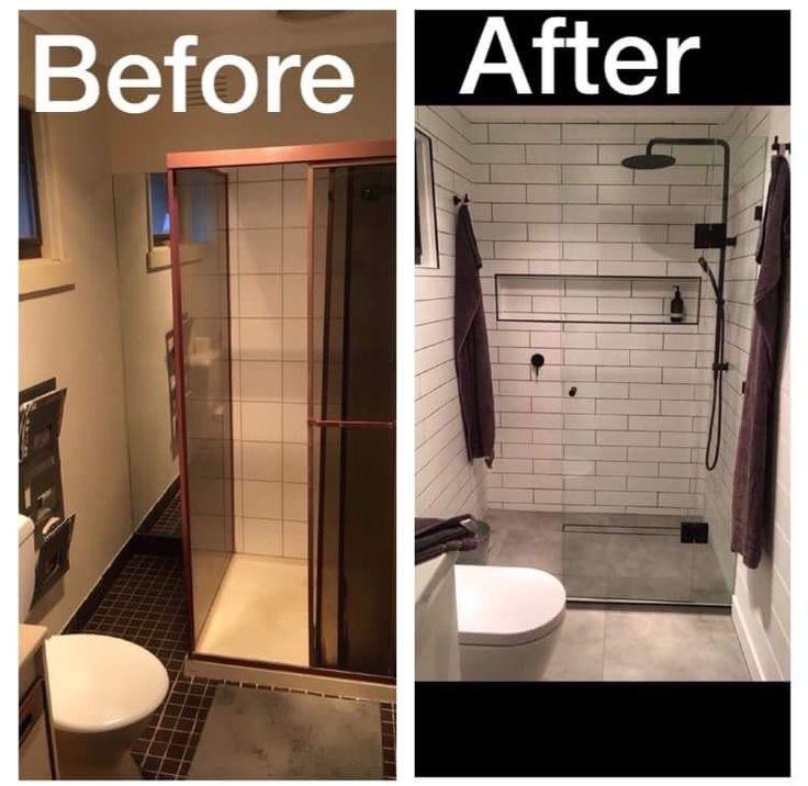 Black And White 2018 Bathroom Reno. Sunday Tiles, Concrete Look Porcelain  Floor Tiles,