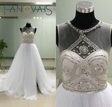 ASA Fotos Reais Dividir Side Lantejoulas Cristal Frisado Tule vestido de Baile Vestidos de Noiva Zipper Voltar Tribunal Trem Vestido de Noiva alishoppbrasil