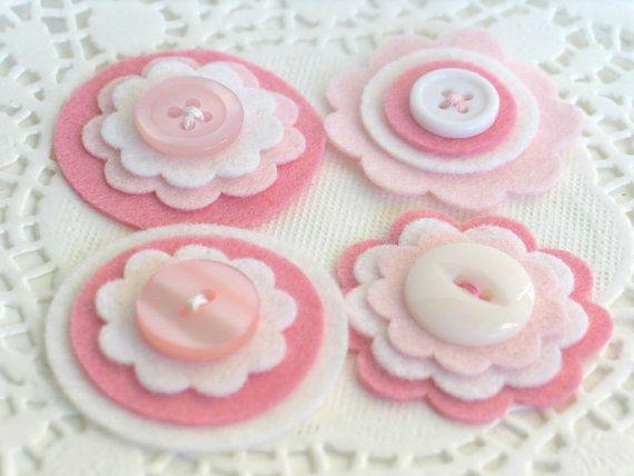 BABY GIRL Felt and Button Embellishments  Set by chocolatecupcake, $4.50