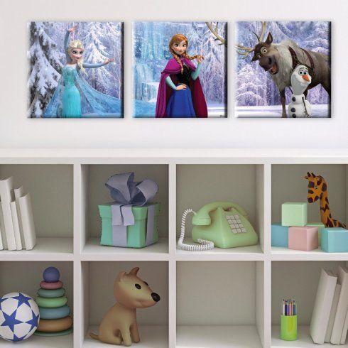 Disney Frozen Set Of 3 Elsa Anna Olaf Printed Canvas Wall Art 70-551