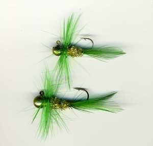 Bugz - small green / gold - Panfish Crappie Jig - fishing lures - Haggerty Lures