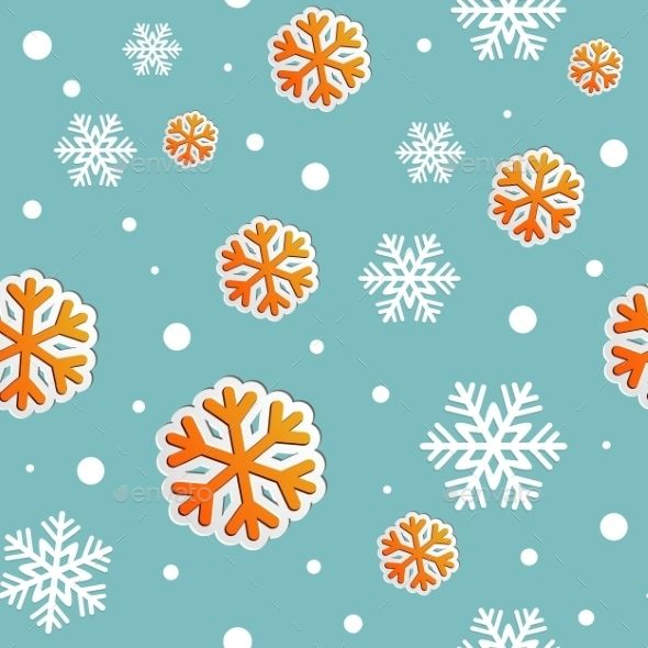 Abstract Christmas Seamless Background with Snow