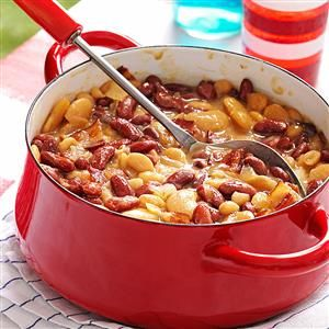 Triple Bean Bake with Bacon Recipe -Tried and true baked beans go from ordinary to extraordinary when you mix bean varieties and add the zing of horseradish. —Sherri Melotik, Oak Creek, Wisconsin