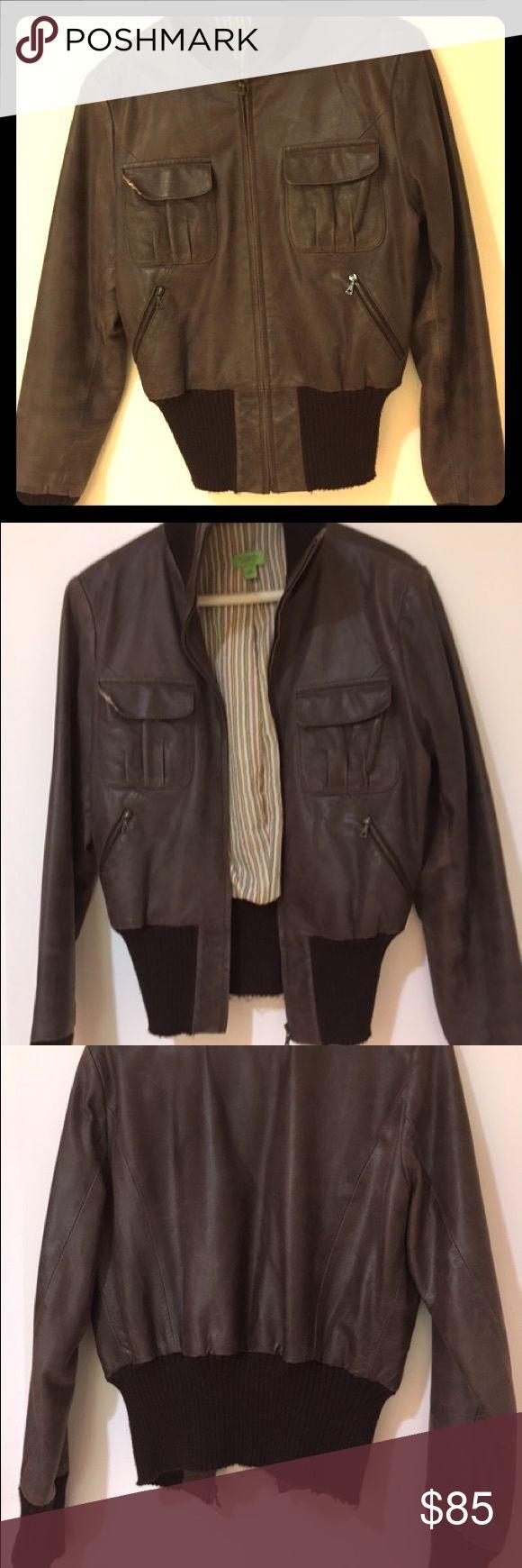 John Carlisle brown leather bomber jacket John Carlisle distressed chocolate brown leather bomber jacket with knit bottom and wrist. In great condition. John Carlisle Jackets & Coats