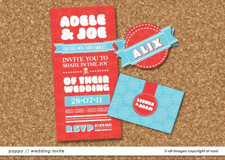 Adele & Joe's wedding invite  www.nooievents.co.za