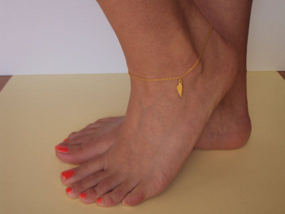 Beach anklet 14K Gold Anklet foot jewelry wing by VasiaAccessories