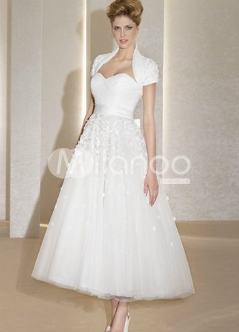 Delightful White Sweetheart A-line Grenadine Tea Length Wedding Dress