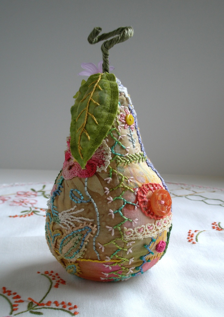 Crazy Quilted Pear Pincushion by fiberluscious
