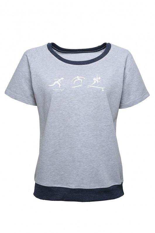 CREAMY MELANGE - t-shirt z grafikią odblaskową