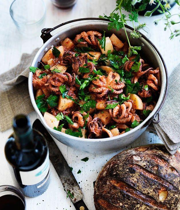 Baby octopus, tomato and potato stew recipe | Gourmet Traveller WINE recipe :: Gourmet Traveller