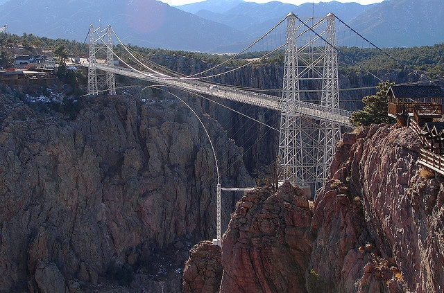 Royal Gorge Bridge, Arkansas River, Colorado    Now Second Highest suspension bridge in the world at 1053 feet (321 m) above the Arkansas River