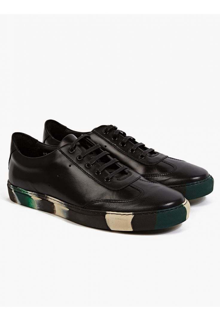 COMME des GARCONS SHIRT X The Generic Man Black/Green Leather Sneakers