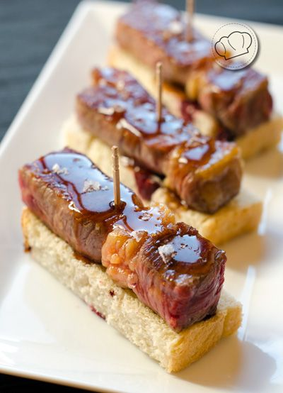 receta de Taquitos de lomo de buey con glaseado de vinagre de jerez
