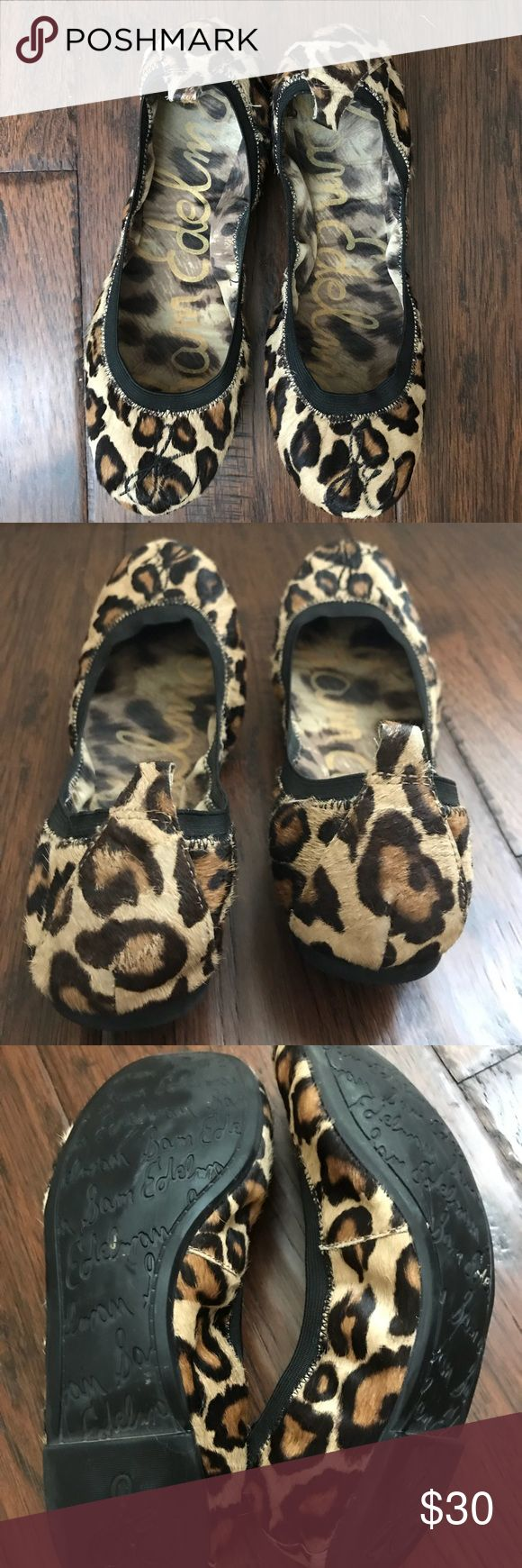 Sam Edelman leopard ballet flats Excellent condition Sam Edelman ballet flats. Only worn a few times, still looks new.  Very comfortable, but runs small due to the elastic around the edge. Size 8.5 but I would suggest for 7.5-8 sizes. Sam Edelman Shoes Flats & Loafers