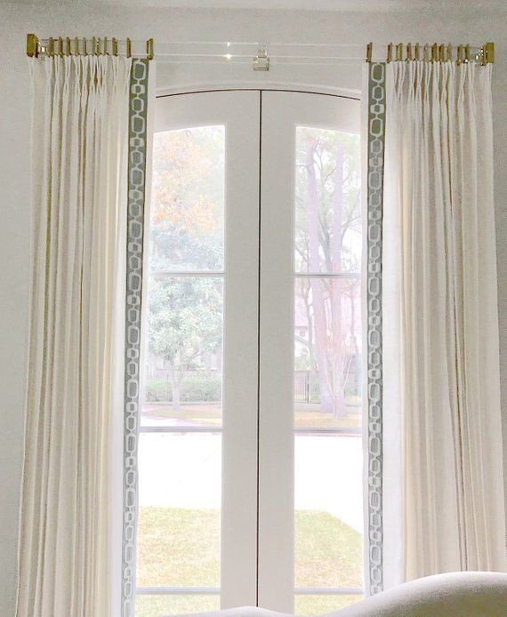 Greek Key Curtains Grey Trim Wide Trimmed Curtains White Linen Etsy Acrylic Curtain Rods Gold Curtain Rods Gold Curtains