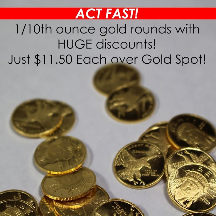 Today is the LAST day to get discounted #gold! These 1/10th ounce gold Lady Liberty Rounds are significantly discounted to only $11.50 each over spot!  Get them while supplies last! Sale ends at 7:30 PM Eastern on Friday June 30